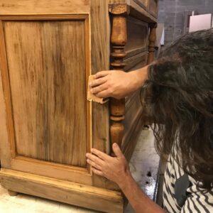 TV table, τραπεζάκι τηλεόρασης από παλιά ελληνική ξυλεία