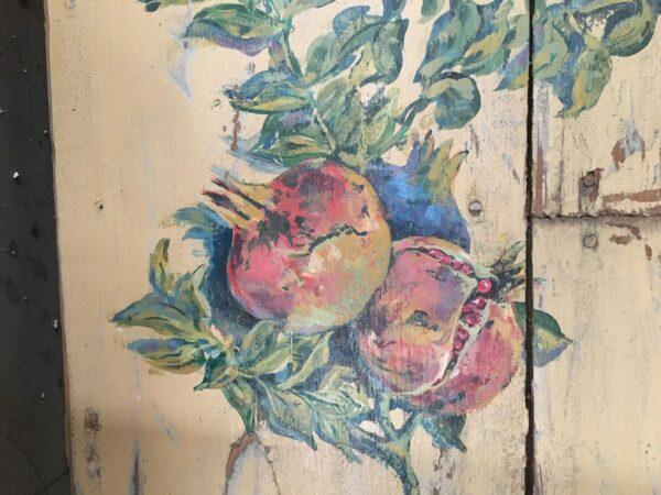 Ρόδι, πίνακας ζωγραφικής σε παλιό ξύλο, ελληνικό παραθυρόφυλλο