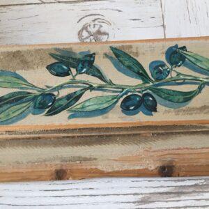 Πίνακας ζωγραφικής, το κλαδί της ελιάς σε παλιό ξύλο