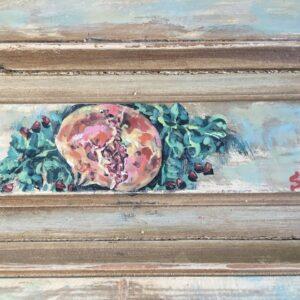 Πίνακας ζωγραφικής σε παλιό ξύλο, το ρόδι το σύμβολο της ευημερίας