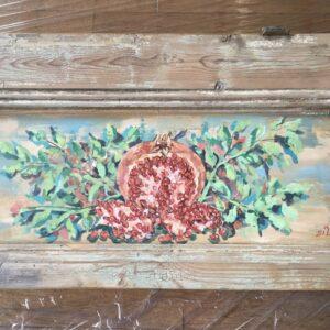 Ρόδι, ζωγραφικό έργο σε παλιό κομμάτι ξύλο ταμπλά από παλιά πόρτα