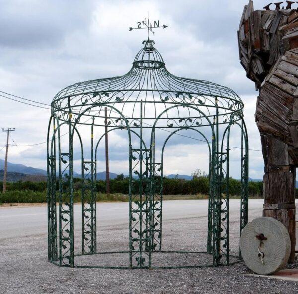 Πέργκολα μεταλλική πολύγωνη, στρογγυλή με τρούλο χειροποίητο έπιπλο βαριά κατασκευή, γκαζέπο