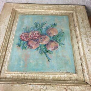 Ρόδι, πίνακας ζωγραφικής σε παλιό ξύλο, ταμπλάς παλιάς ελληνικής πόρτας