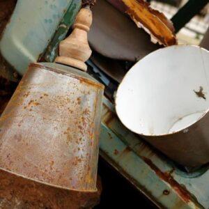 Φωτιστικό, παλιό μεταλλικό σκεύος vintage αντικέ