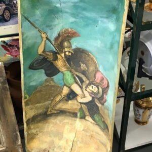 Πίνακας ζωγραφικής , Λεωνίδας αρχαίος Έλληνας ήρωας σε παλιό ξύλο