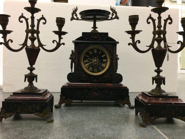 Ρολόι και κηροπήγια σετ 3 τεμ. γαλλική αντίκα του προηγούμενου αιώνα