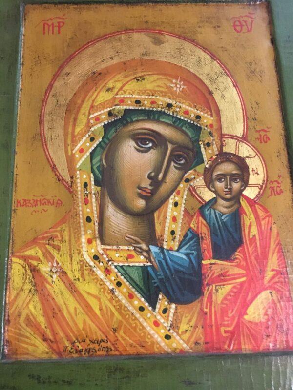 Εικόνα της Παναγίας, ζωγραφική σε παλιό ξύλο με φύλλο χρυσού 24Κ,